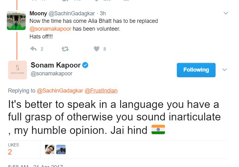 Sonam Kapoor National Anthem